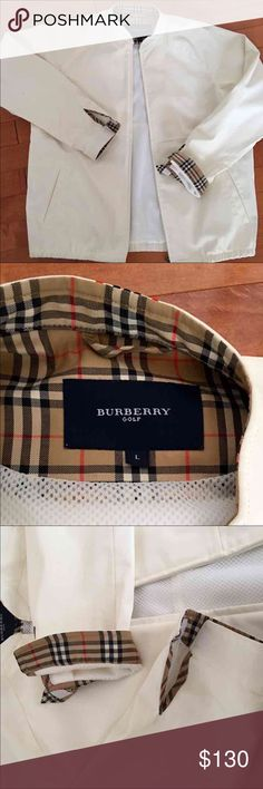 """Burberry Cream Unisex Rain Golf Slicker Zip Jacket NEW WITHOUT TAGS. Received as a gift.  MY CLOSET YO YOURS. Breathable mesh lining, outside slip pockets, elastic waist, chunky heavy zipper up the front, mandarin collar, off white, size large, fits woman ten to fourteen, 32"""" to 40"""" bust. Made to be men or woman's jacket. Material is viscous, which is a light, water repellant, breathable rubber, however you don't perspire Burberry Jackets & Coats Utility Jackets"""
