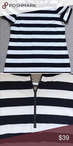 J crew striped cotton dress m medium J crew New without tag Striped cotton dress Medium Zippered back J. Crew Dresses Mini