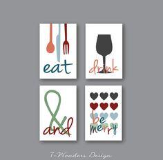 Stampe d'arte moderna cucina mangiare bere & essere buon