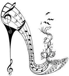 Shoe art with something for everyone designs include the Hot Boogy shoe, Masked Ball, Puss on Boots and many others. Music Drawings, Music Artwork, Art Drawings, Music Silhouette, Motifs Art Nouveau, Note Tattoo, Music Pics, Music Logo, Music Humor