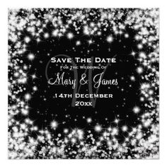 """Elegant wedding """"Save The Date"""" design with romantic  Winter Sparkle effect night starry sky on black background, and custom names, date text, and decorative monogram. Fully cusomizable http://bezazzled.com http://customprintpersonalizedweddingsavethedateinvitationcards.com #personalizedweddinggifts #personalizedsavethedate"""