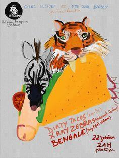 soirée du 22 janvier au Chicho avec X Ray Zebras, Bengale et Dirty Tacos