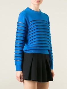 Alexander Wang Sheer Striped Peelaway Sweater - Companero - Farfetch.com
