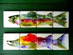 Items similar to Hand Painted Rainbow Trout or Sockeye Salmon Coasters on Etsy Alaska Salmon Fishing, Middle School Art Projects, King Salmon, Sockeye Salmon, Rainbow Trout, Fish Print, Art Lessons, Hand Painted, Painted Fish
