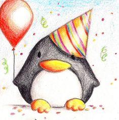 birthday drawing drawings penguin happy deviantart easy keks card animal cards step cake sketch penguins painting paintingvalley