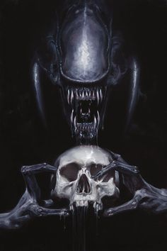 David Palumbo works frequently with Dark Horse Comics on covers for different series. Here are three covers for their ALIENS: Fire and Stone series, Check out these erie and beautiful pieces! Alien Vs Predator, Predator Movie, Predator Mask, Apex Predator, Darkhorse Comics, Alien Films, Aliens Movie, Xenomorph, Science Fiction