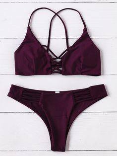 Set bikini con diseño de tiras cruzadas - borgoña