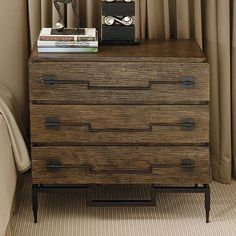 """3 Drawer Wide Chest- Dark Brushed Mango: This #studioahome chest is made of solid mango wood and hand wrought iron. Wood has a dark stained, hand scratched finish with a satin lacquer top coat. Metal has a hammered black powder coated finish. Three 8""""H drawers. Oversized hand wrought iron drawer pulls. Hand wrought iron base. #topfurniturefavorites #instock"""