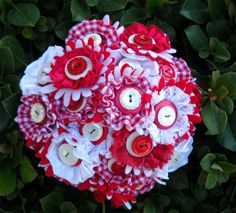 Red & White gingham button bouquet