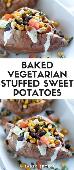 Baked sweet potatoes loaded with roasted corn, black beans, chopped tomatoes, diced onions, and avocado result in a meatless, flavorful and easy 20-minute meal for busy weeknights! via @asassyspoon