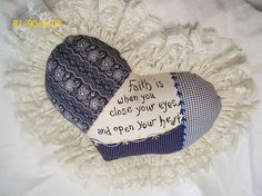 Embroidered HEART PILLOW versed in BLUE Calico by JleCROW on Etsy, $47.00