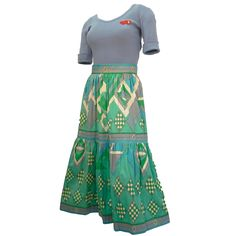 1970s Emilio Pucci Blue and Green Two-Piece Cotton T-shirt and Skirt Ensamble  1
