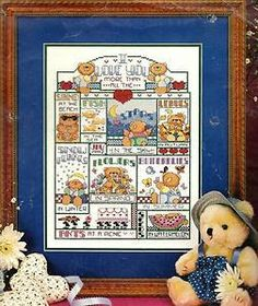 I Love You More Teddy Bear Vintage Counted Cross Stitch Kit by Bucilla - , New, No Longer Available by WhimseysByAnne, $30.00