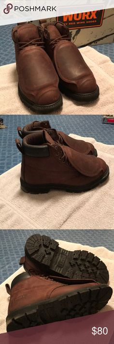 Steel toe metal tarsal work boots Steel toe metal torsel work boot size 7 1/2 wide brown in color never worn worx by red wing shoes Shoes Combat & Moto Boots