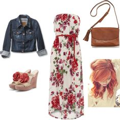 Country Date, created by stephaniejsteiner on Polyvore (Kind of already have the dress and jacket, but the dress is shorter and pink)