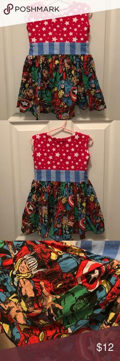 Tunic/dress Captain America/Marvel comics EEUC size 4 tunic, we used as a dress at 3 and top at 4 Sweet Petunia Shirts & Tops Tees - Short Sleeve