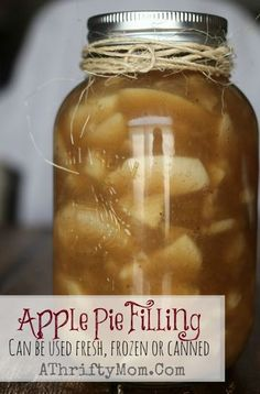 Apple Pie Filling Recipe, can be used fresh, frozen or canned.made an apple pie with it a week ago and I definitely recommend it Fresh Apple Pie Recipe, Apple Recipes For Canning, Canning Apples, Apple Pie Recipes, Canned Pear Pie Recipe, Canning Tomatoes, Freezer Apple Pie Filling, Homemade Apple Pie Filling, Homemade Pie