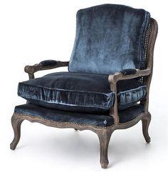 Sasha Blue Velvet French Style Oak Bergere Arm Chair