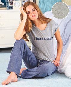 Women's Pajamas Attitude Loungewear Sets I HATE MONDAYS Sm, Med, Lge XL #Imported #PajamaSets