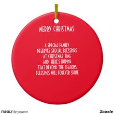 FAMILY Double-Sided CERAMIC ROUND CHRISTMAS ORNAMENT