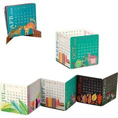 2016 Paper Source Mini Accordion Calendar - This delightful little desk calendar features 12 colorful and exclusive Paper Source designs in an accordion style format. Fold any which way - you can open the accordion to reveal the whole year or fold it up and use the mini paper easel to display just a single month. A bright addition to any desk and perfect for those looking to save space (it can even fit in a wallet)!