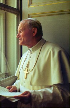 St Pope John Paul II looking out his apartment window