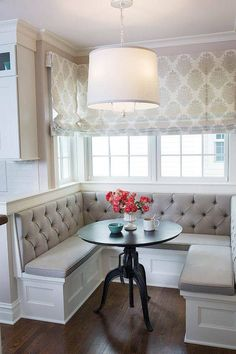 Tufted back cushions for window seats in guest rooms. So cute!