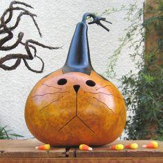 fall gourds   Halloween Gourd Kitty Cat Natural Fall Harvest Pumpkin Candy Bowl ...