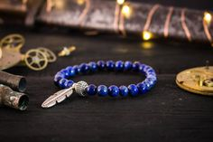 6mm Blue Lapis Lazuli beaded stretchy bracelet от GAALcollection