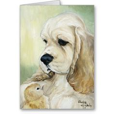 """""""Cocker Spaniel & Chick"""" Dog Art Greeting Card    Click on photo to purchase. Check out all current coupon offers and save! http://www.zazzle.com/coupons?rf=238785193994622463&tc=pin"""