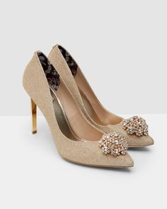 SHOP AW16: Ted's gold bejewelled courts are the perfect pair of heels to party the night away. Match with a metallic dress and leave a lasting impression.