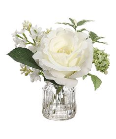 Take a look at this White & Green Rose & Lilac in Glass Vase today!