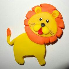 León hecho en Masa Flexible. Animales de la Selva. Jungle Friends Polymer Clay