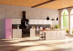 Cocina con electrodomésticos en color rosa