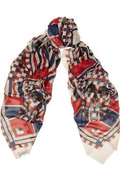 Alexander McQueen|Printed modal and silk-blend scarf|NET-A-PORTER.COM