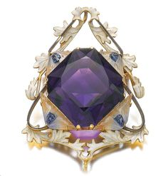 GOLD, ENAMEL, GLASS AND AMETHYST BROOCH/PENDANT, RENÉ LALIQUE, 1900S Centring on an octagonal-shaped amethyst, within a foliate enamel frame accented to the cardinal points with enamel and glass anemone flower heads, signed Lalique, detachable brooch pin to reverse.