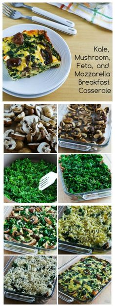 Kale, Mushroom, Feta, and Mozzarella Breakfast Casserole is delicious and it's Low-Carb, Gluten-Free, and South Beach Phase One.  Make this on the weekend and reheat every day for a quick breakfast. [fromKalynsKitchen.com] #LowCarbBreakfast