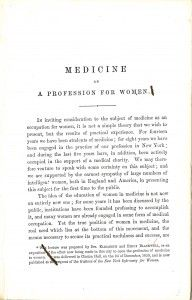 """""""Medicine as a Profession for Women,"""" by Drs. Elizabeth and Emily Blackwell, published by the Trustees of the New York Infirmary for Women in 1860. Image by the National Library of Medicine"""