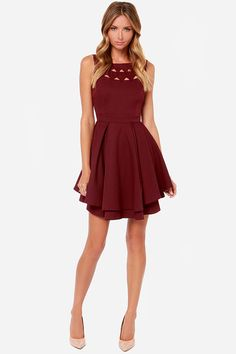 77fc52ffbb393 Exclusive Flirting with Danger Cutout Burgundy Dress