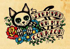 Jour de la mort chat Dia de los Muertos Art par illustratedink