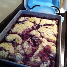 Blackberry cobbler:) We used to pick the berries at one of my aunt's houses