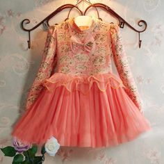 Beautiful dress for little girls. Perfect for wedding,Christmas, pageant,birthday outfit or even photography sessions. Rose trims are sparkly. This dress is wide waisted. Product:dress Color:peach p Baby Girl Party Dresses, Toddler Girl Dresses, Little Girl Dresses, Baby Dress, Girls Dresses, Flower Girl Dresses, Frocks For Girls, Kids Frocks, Fall Dresses