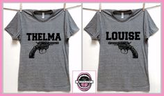 20f850c23 Thelma and Louise GUN image. Set of 2 Unisex GRAY Crew Neck Tri blend T- shirt XS thru 4XL. best friend shirts. badass feminist. plus sizes