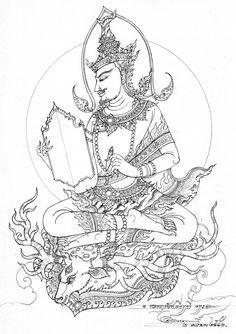ฤาษีพฤหัสบดี-jpg.829472 (539×763) Thailand Tattoo, Thailand Art, Buddhism Tattoo, Thai Pattern, Doodle Art Designs, Thai Art, Buddha Art, Cool Art Drawings, Indian Paintings