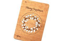 Wood Wreath Ornament Christmas Card Laser Cut Modern Design Great Present