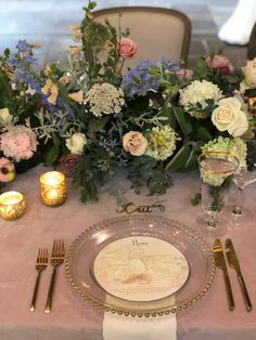 The perfect feminine color palette created with garden inspired florals, pink velvet linens, gold flatware, watercolor stationery. Old Edwards Inn wedding planned by We Tie The Knots