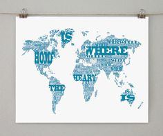 Old sheet music world map by michael tompsett sheet music typographic world map home is where the heart is 8x10 or 11x14 art print gumiabroncs Choice Image