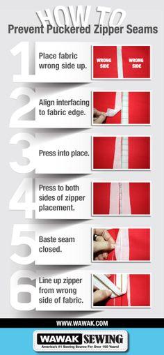 How To Prevent Puckered Zipper Seams   WAWAK Sewing   www.WAWAK.com