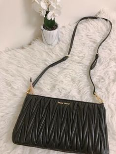 ff3c8deddf37 NWT Miu Miu 5BH086 Matelasse Black Leather Clutch Shoulder Crossbody Bag