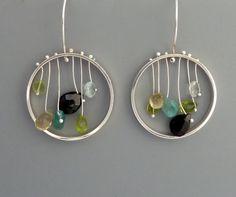 Sterling silver dangle earrings with multi by rachelwilder on Etsy, $82.00